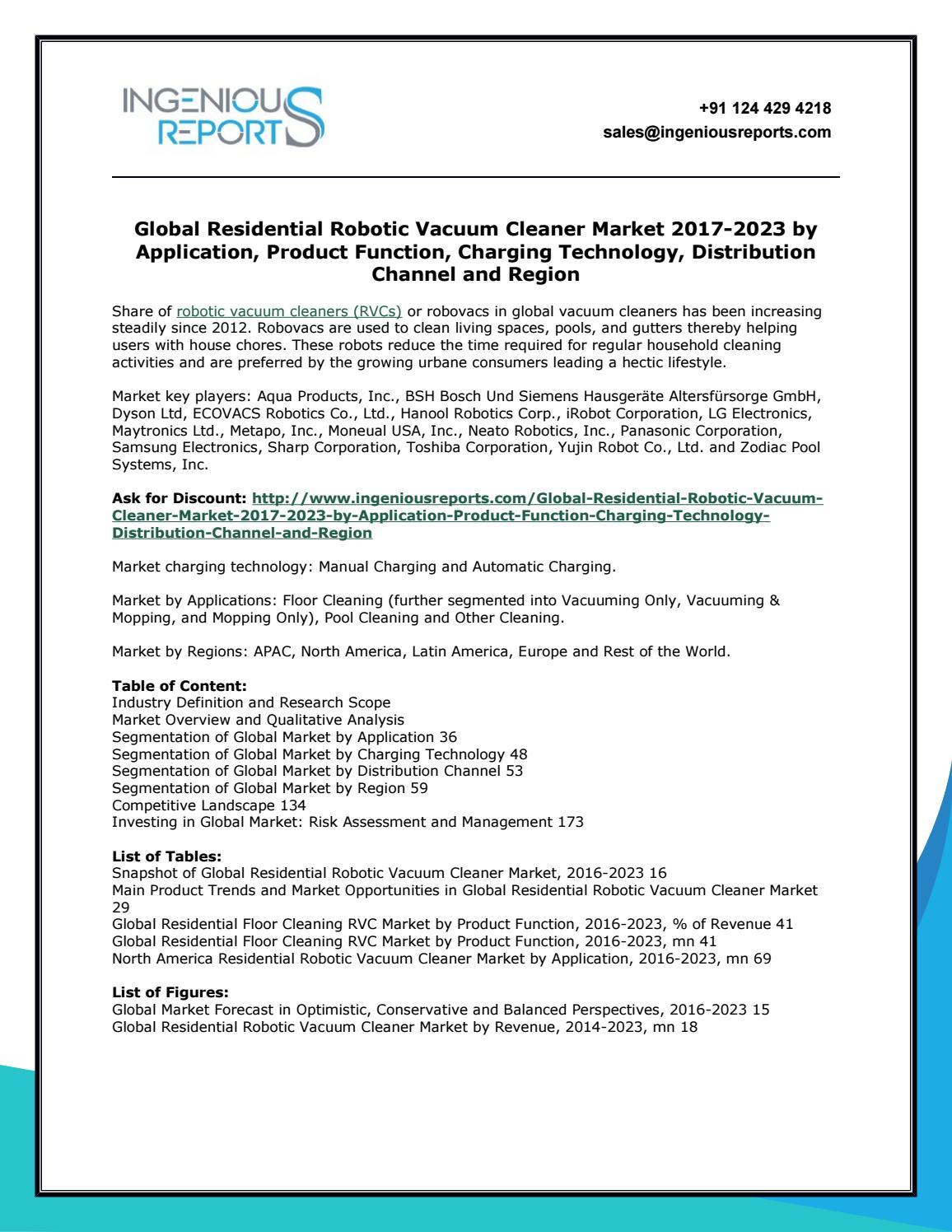 Zodiac Pool Care Europe residential robotic vacuum cleaner global market trends