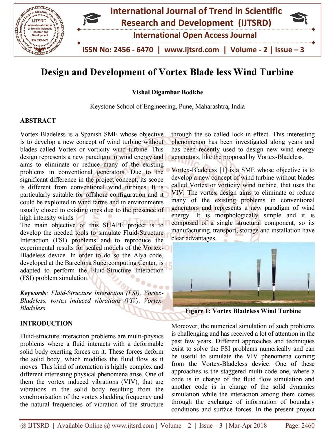 Design and Development of Vortex Blade less Wind Turbine by