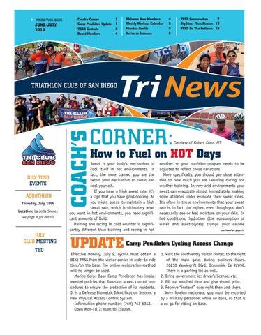 TCSD TriNews June/July 2018 by Triathlon Club of San Diego