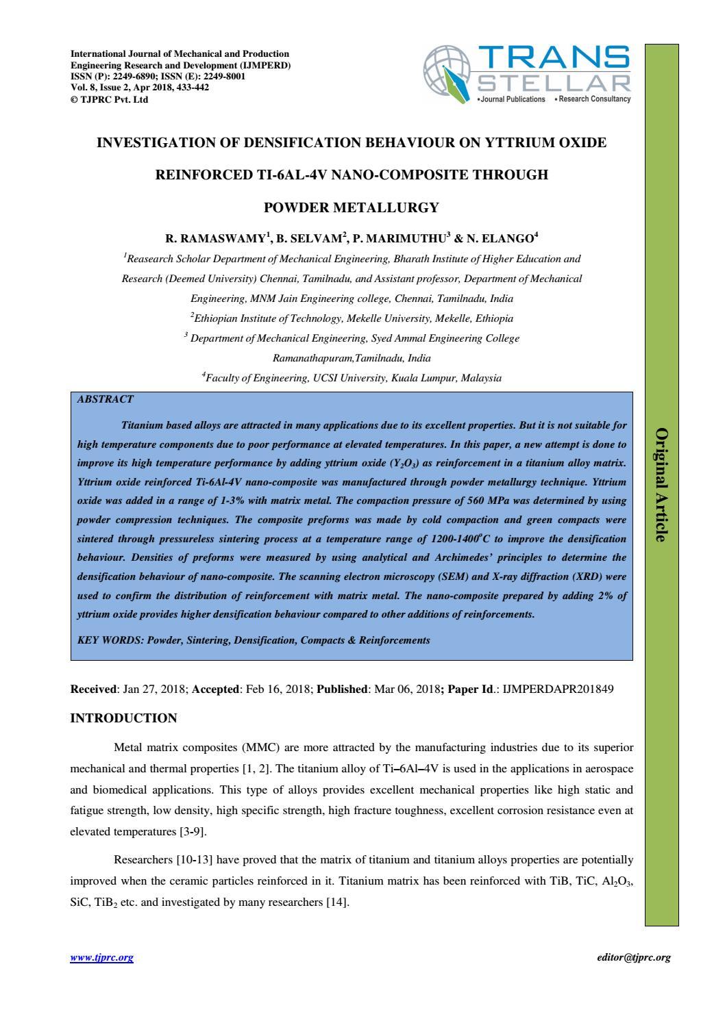 Investigation of Densification Behaviour on Yttrium Oxide