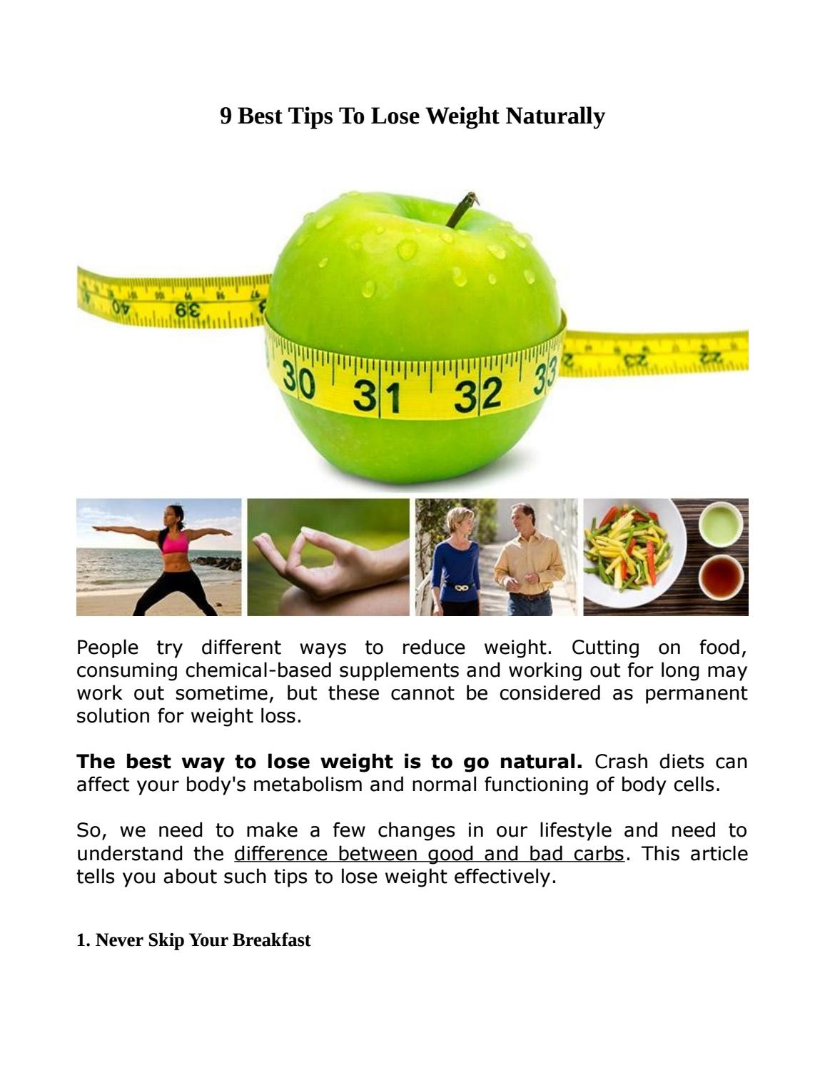 9 Best Tips To Lose Weight Naturally By Danielpatrik Issuu