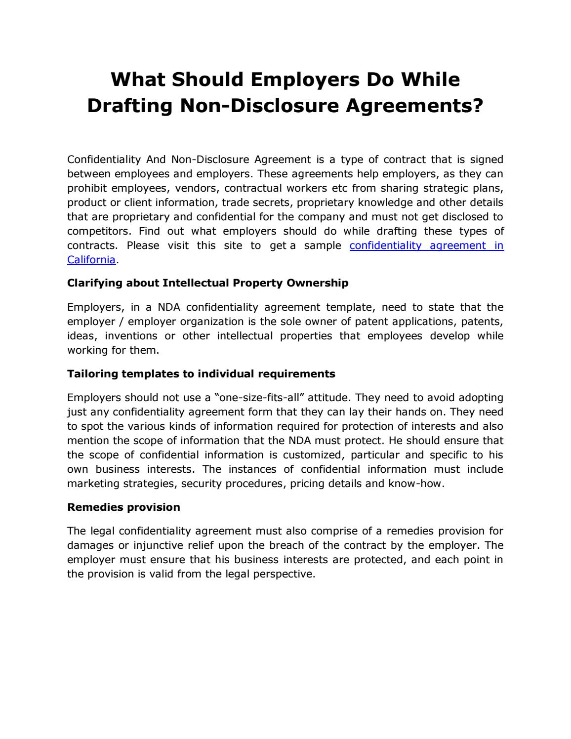 What Should Employers Do While Drafting Non Disclosure