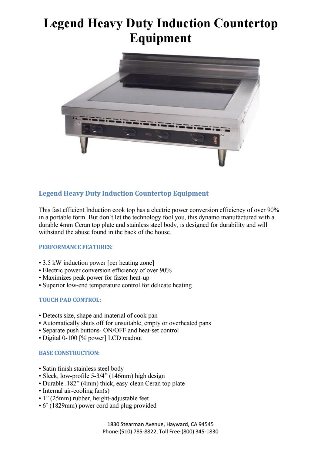 Legend Heavy Duty Induction Countertop Equipment by Montague Company