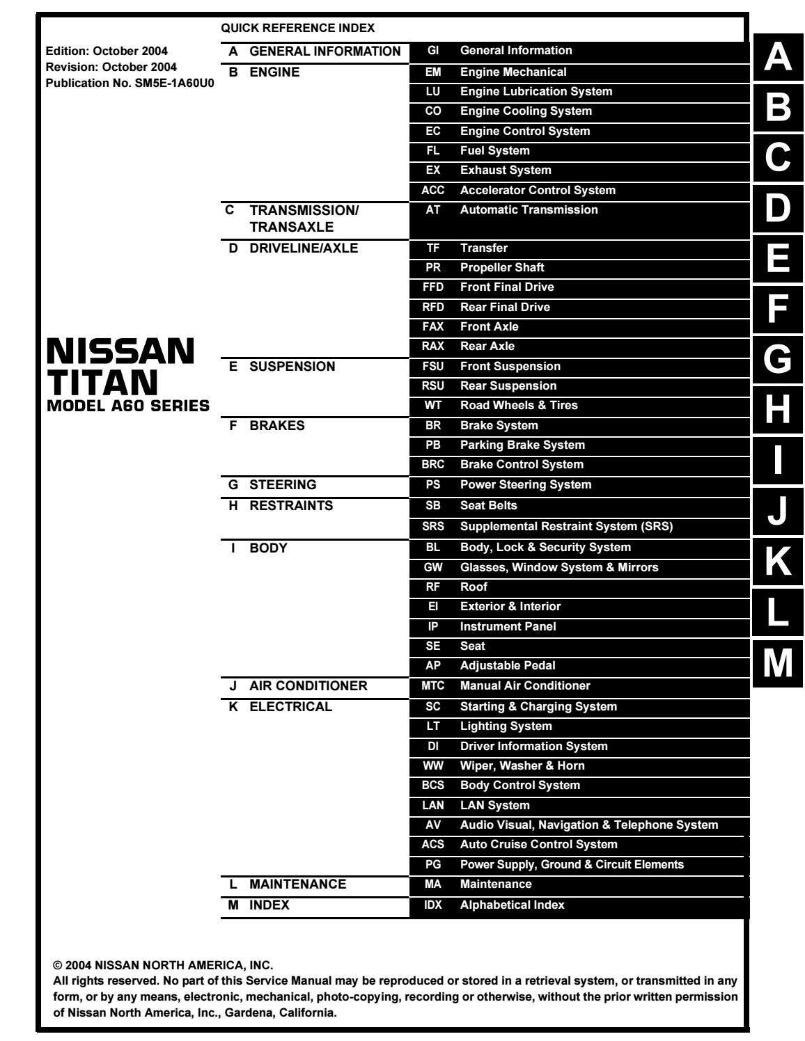2005 Nissan Titan Service Repair Manual by 163215 - issuuIssuu