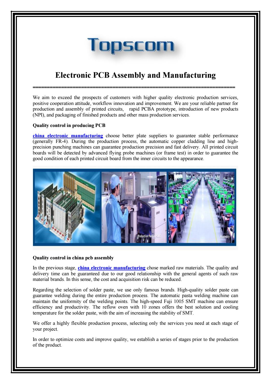 Electronic Pcb Assembly And Manufacturing By Topscompcbassembly Issuu Made Printed Circuit Board China