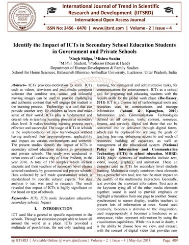 Identify the Impact of ICTs in Secondary School Education