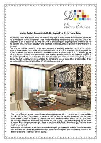 Interior Design Companies In Delhi Buying Fine Art For Home Decor By Decor Solutions Issuu