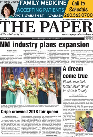 The Paper Of Wabash County July 18 2018 Issue By The Paper Of