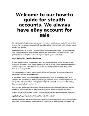 How to use stealth eBay accounts by Ebay stealth - issuu