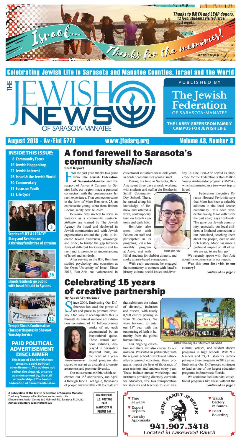 The Jewish News - August 2018 by The Jewish Federation of Sarasota-Manatee  - issuu 0ac87a8bc