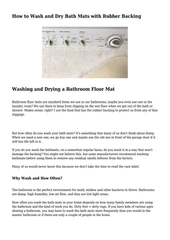 Page 1 How To Wash And Dry Bath Mats