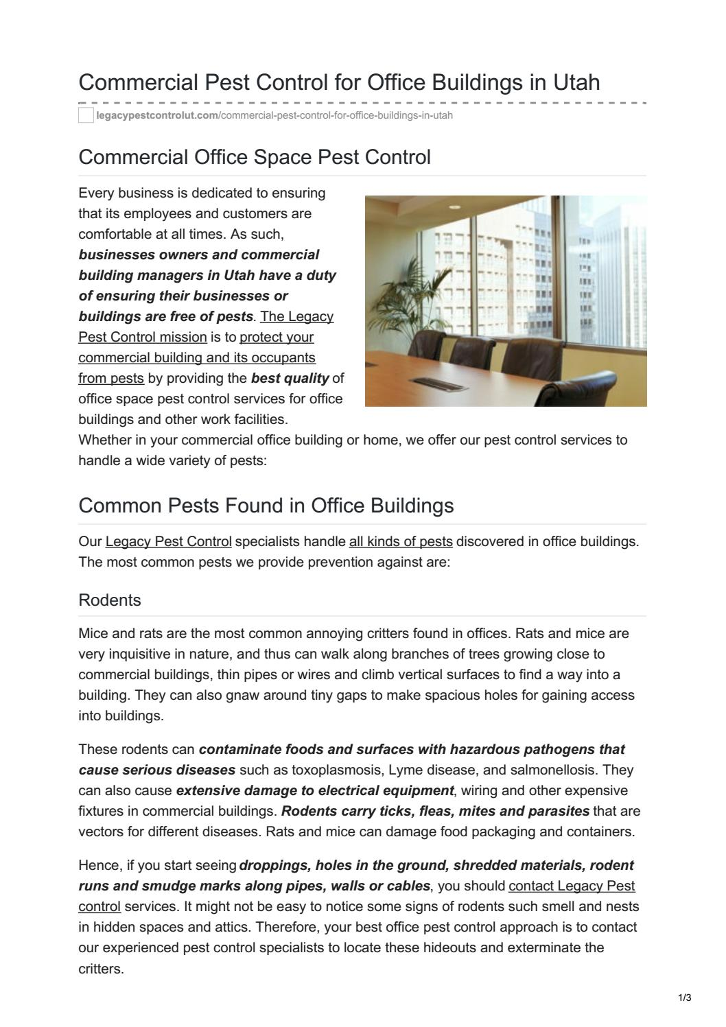 Commercial Pest Control For Office Buildings In Utah By Legacy Wiring A Building Issuu