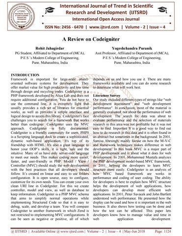 A Review on Codeigniter by International Journal of Trend in