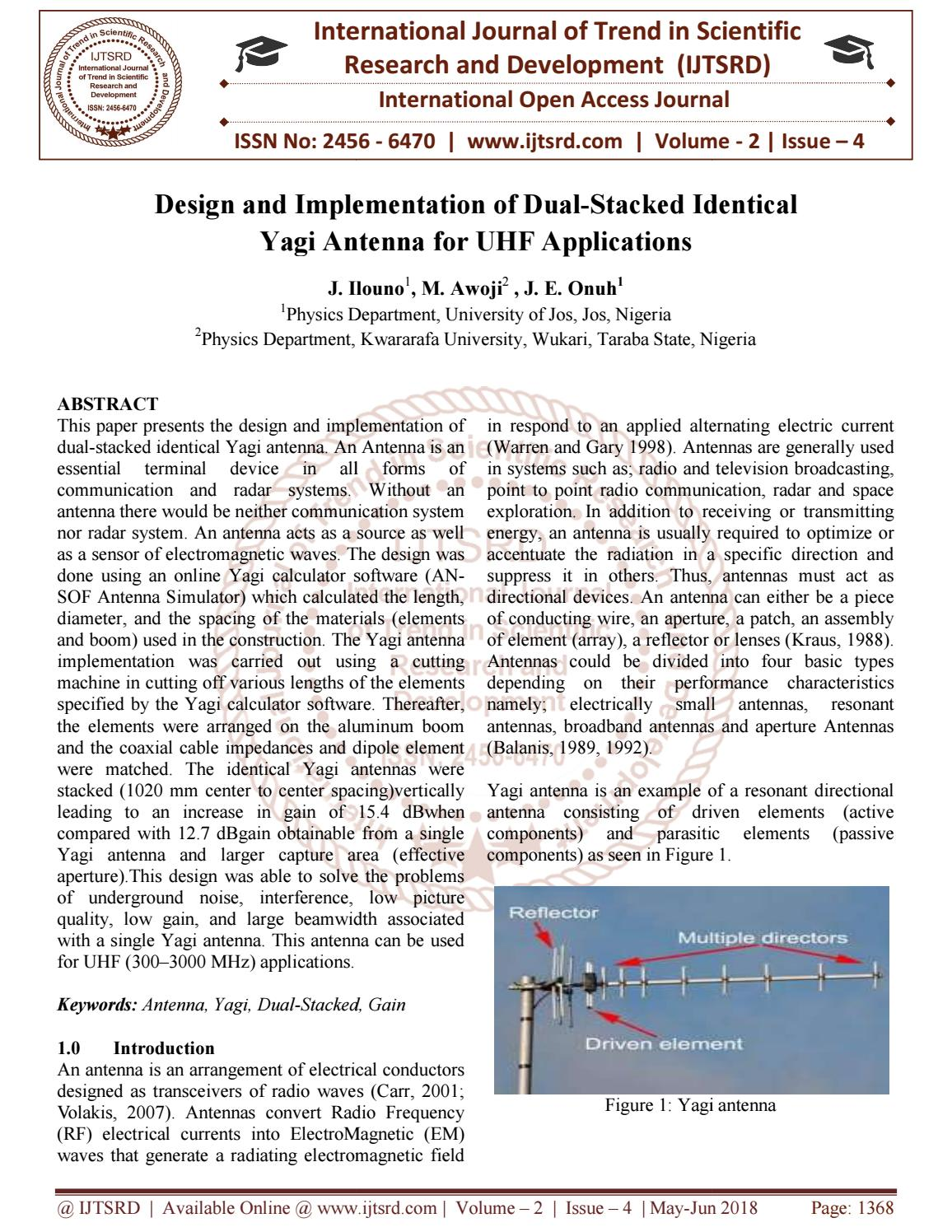 Design and Implementation of Dual-Stacked Identical Yagi