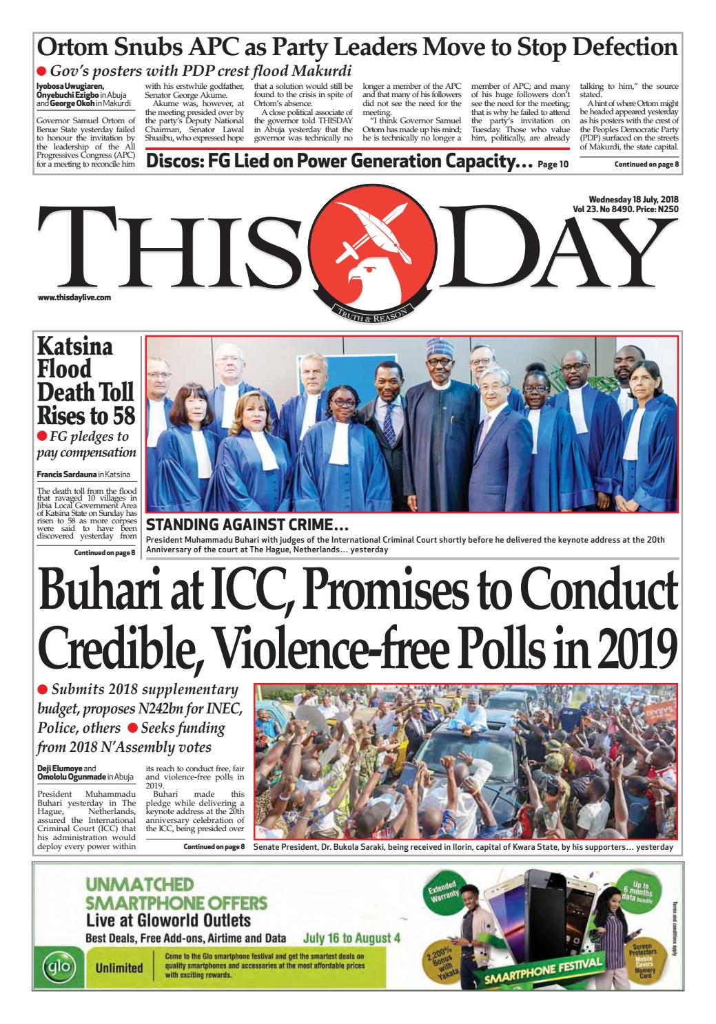 Wednesday 18th July 2018 by THISDAY Newspapers Ltd - issuu