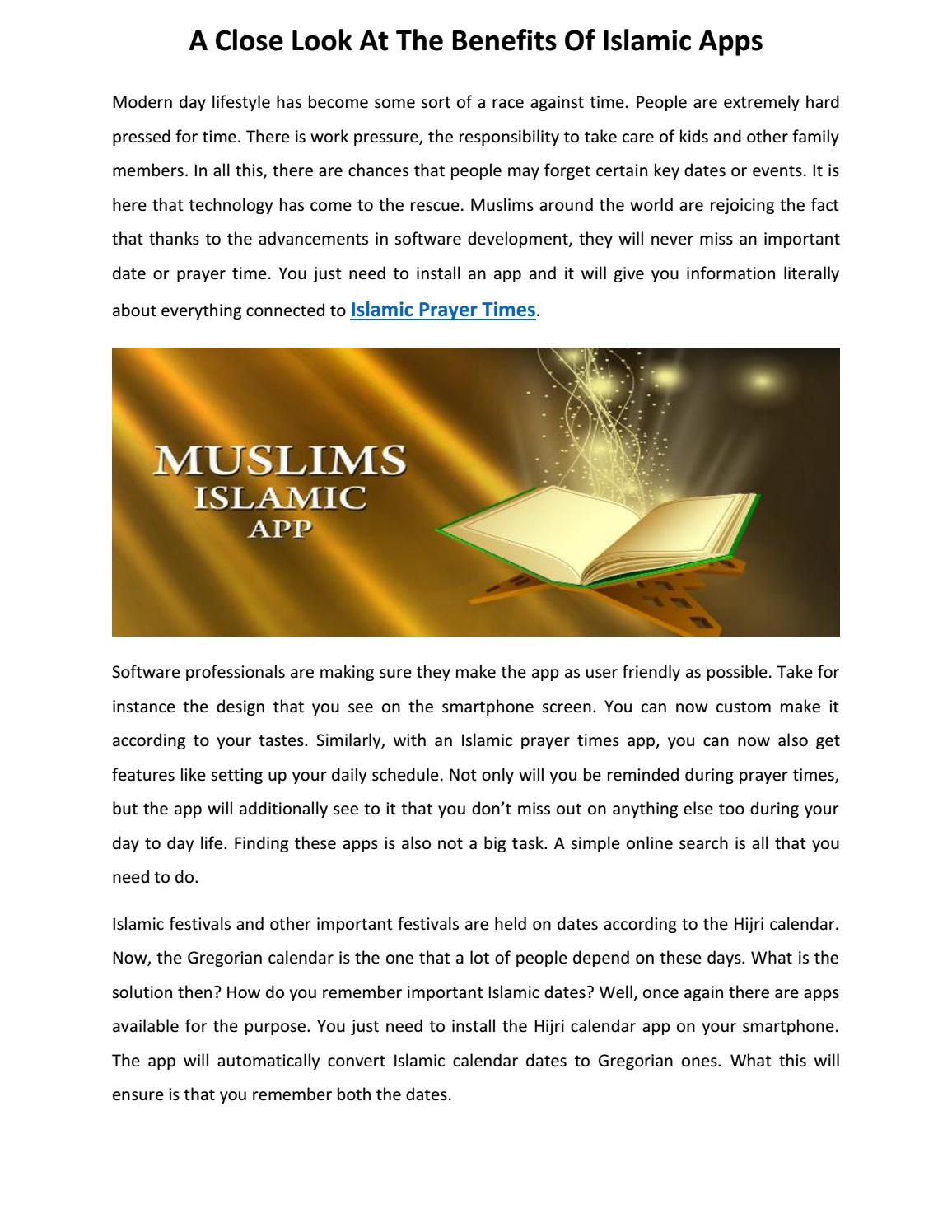 A Close Look At The Benefits Of Islamic Apps by Aasim khan