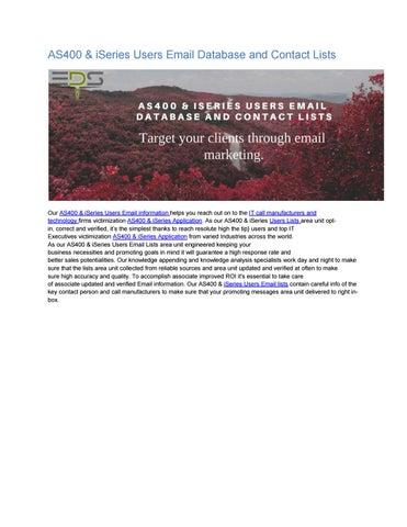 AS400 & iSeries Users Email List by emaildatasupplye123 - issuu
