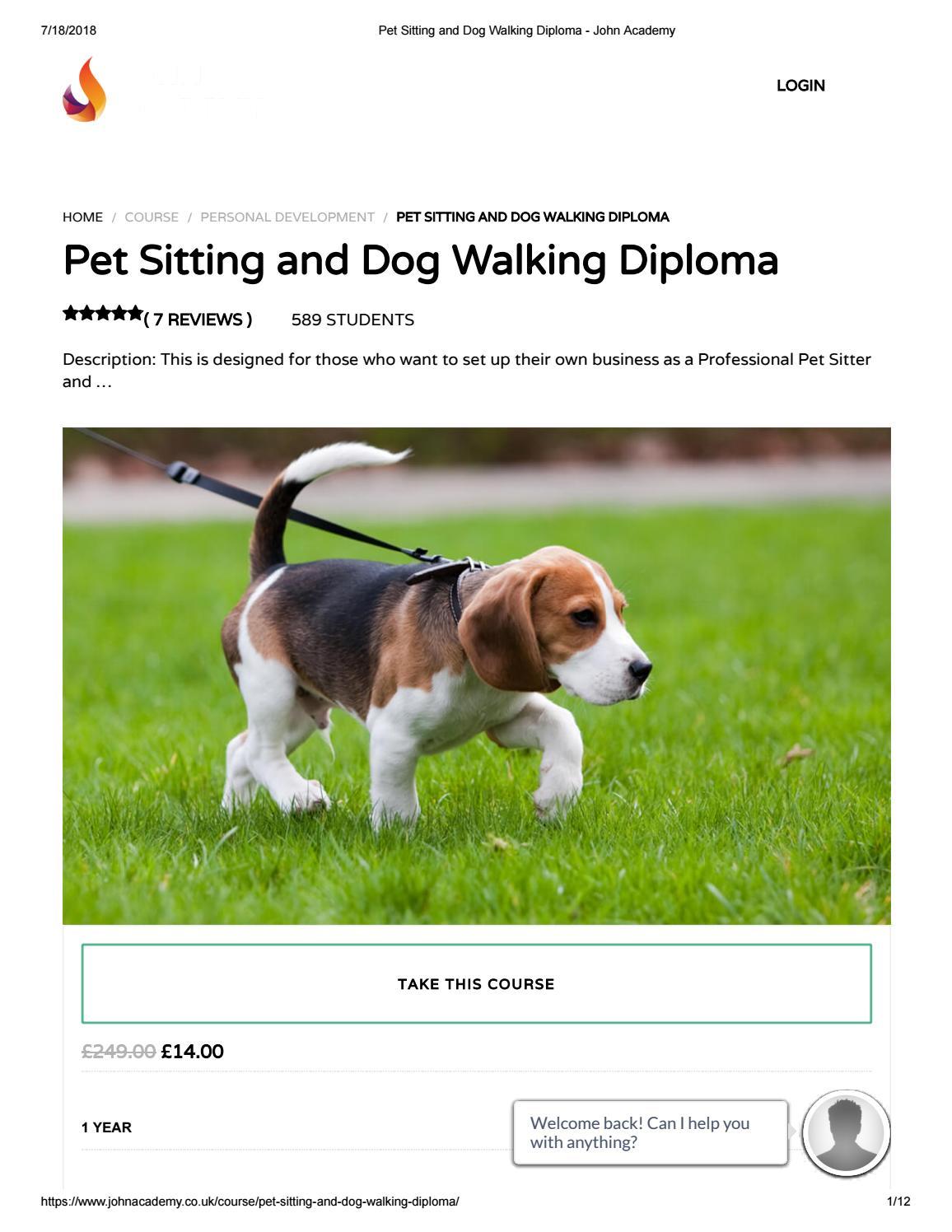 Pet Sitting And Dog Walking Diploma John Academy By Issuu