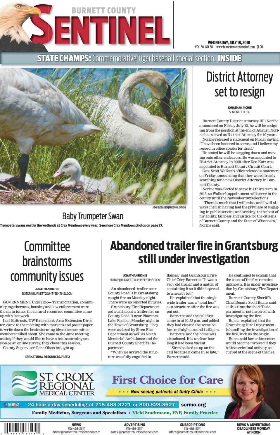 Burnett County Sentinel 07-18-18 by Burnett County Sentinel