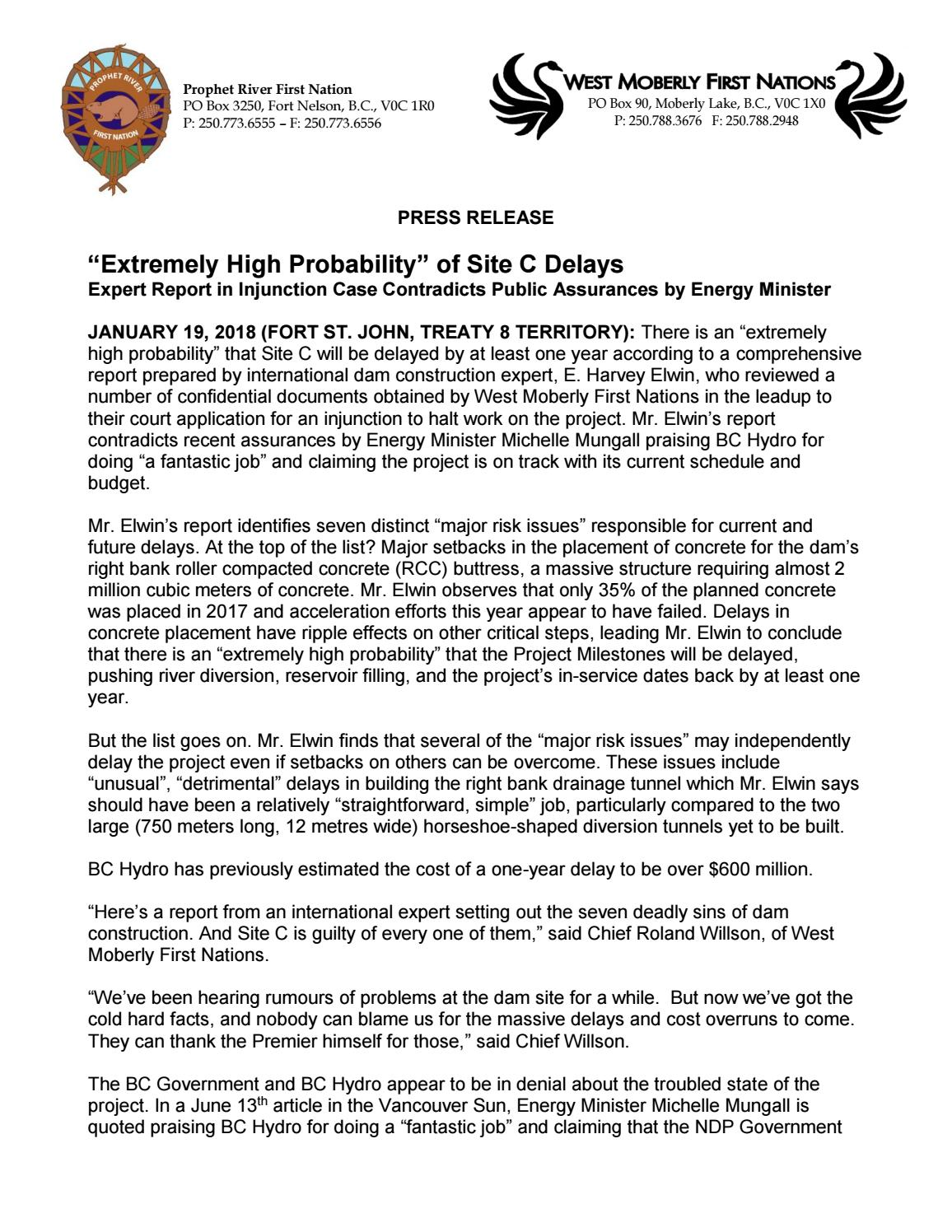 f2b8f4fc57a PRESS RELEASE Extremely High Probability of Site C Delays by Sage ...