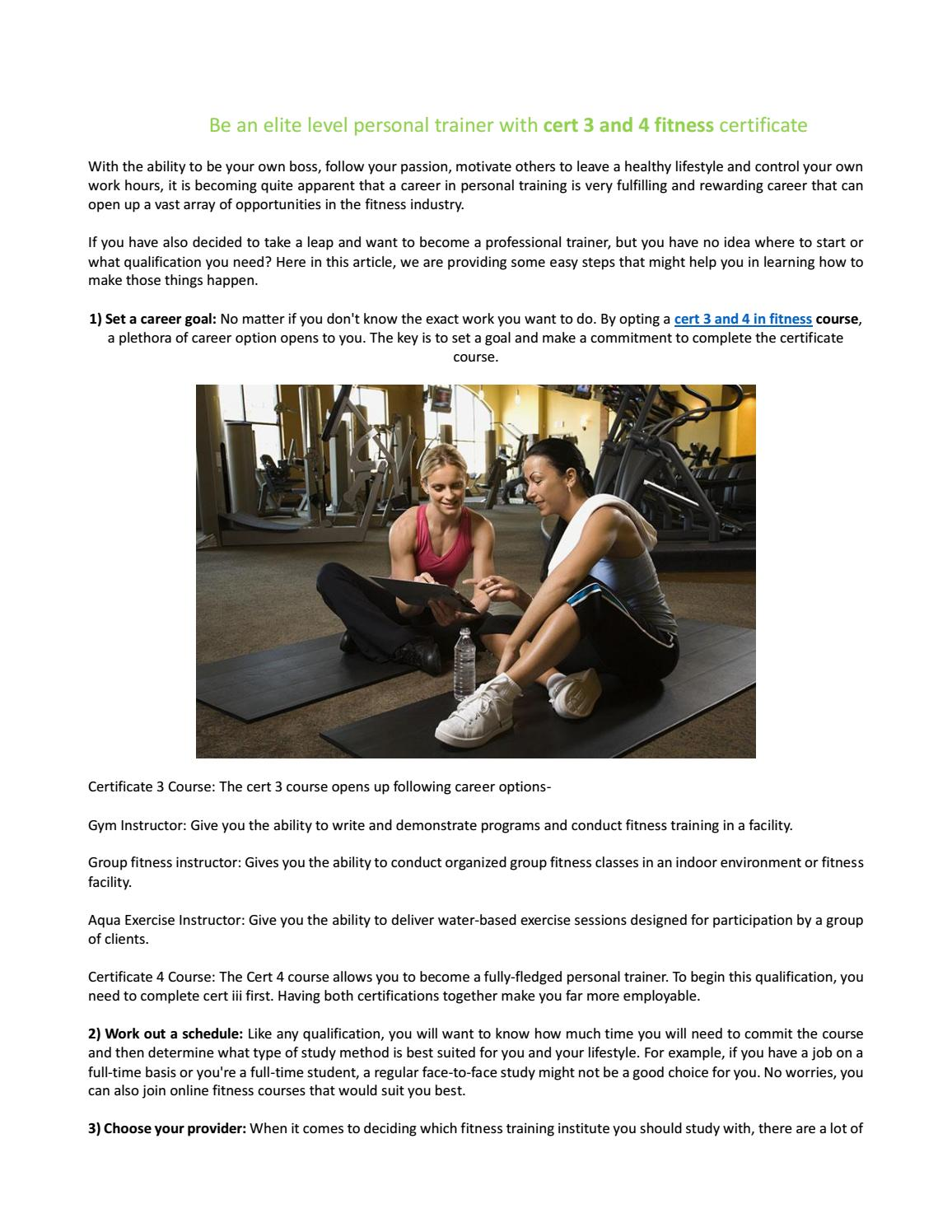 Elite Level Personal Trainer With Cert 3 And 4 Fitness Course By Fit