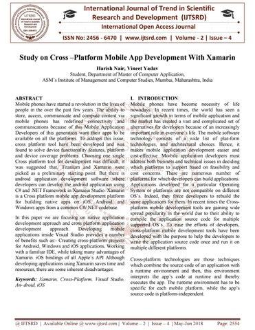 Study on Cross -Platform Mobile App Development With Xamarin