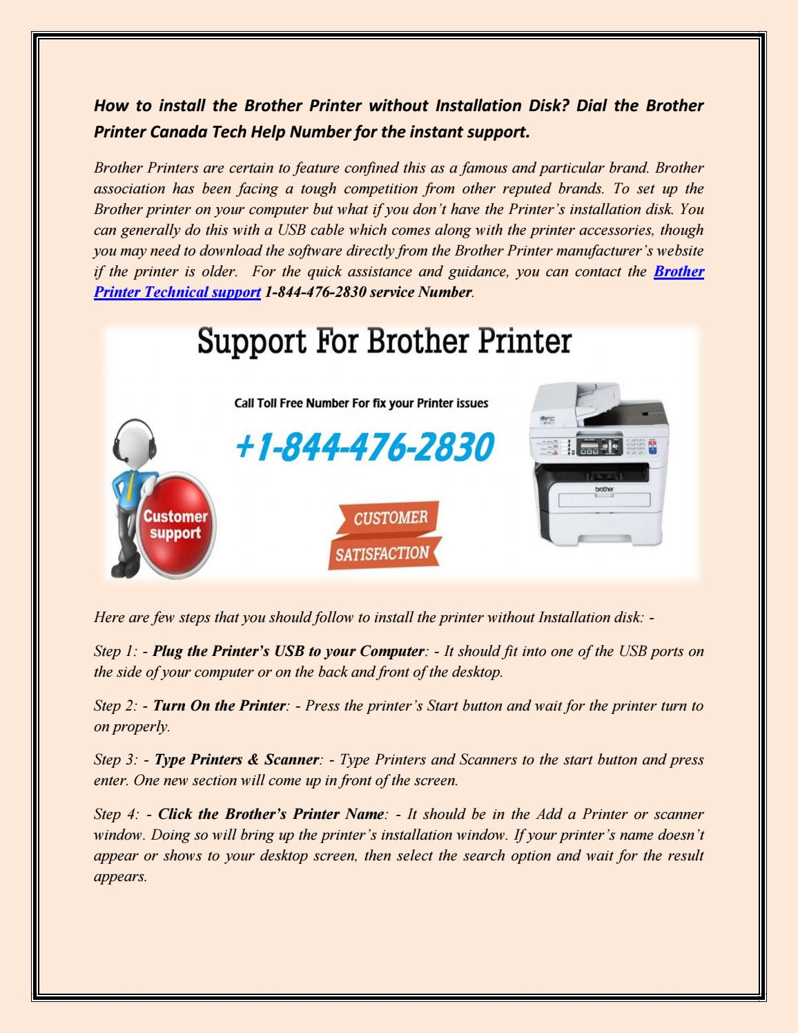 Contact Brother Printer 1-844-476-2830 customer service number
