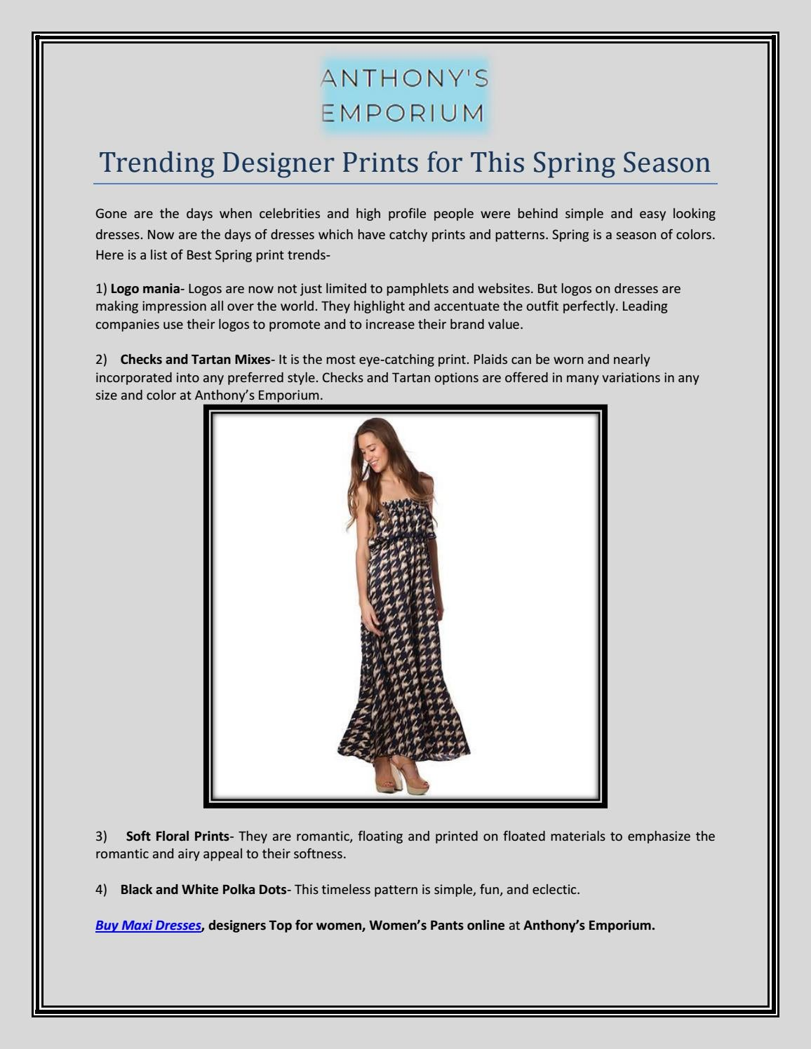 Trending Designer Prints for This Spring Season by ANTHONY'S