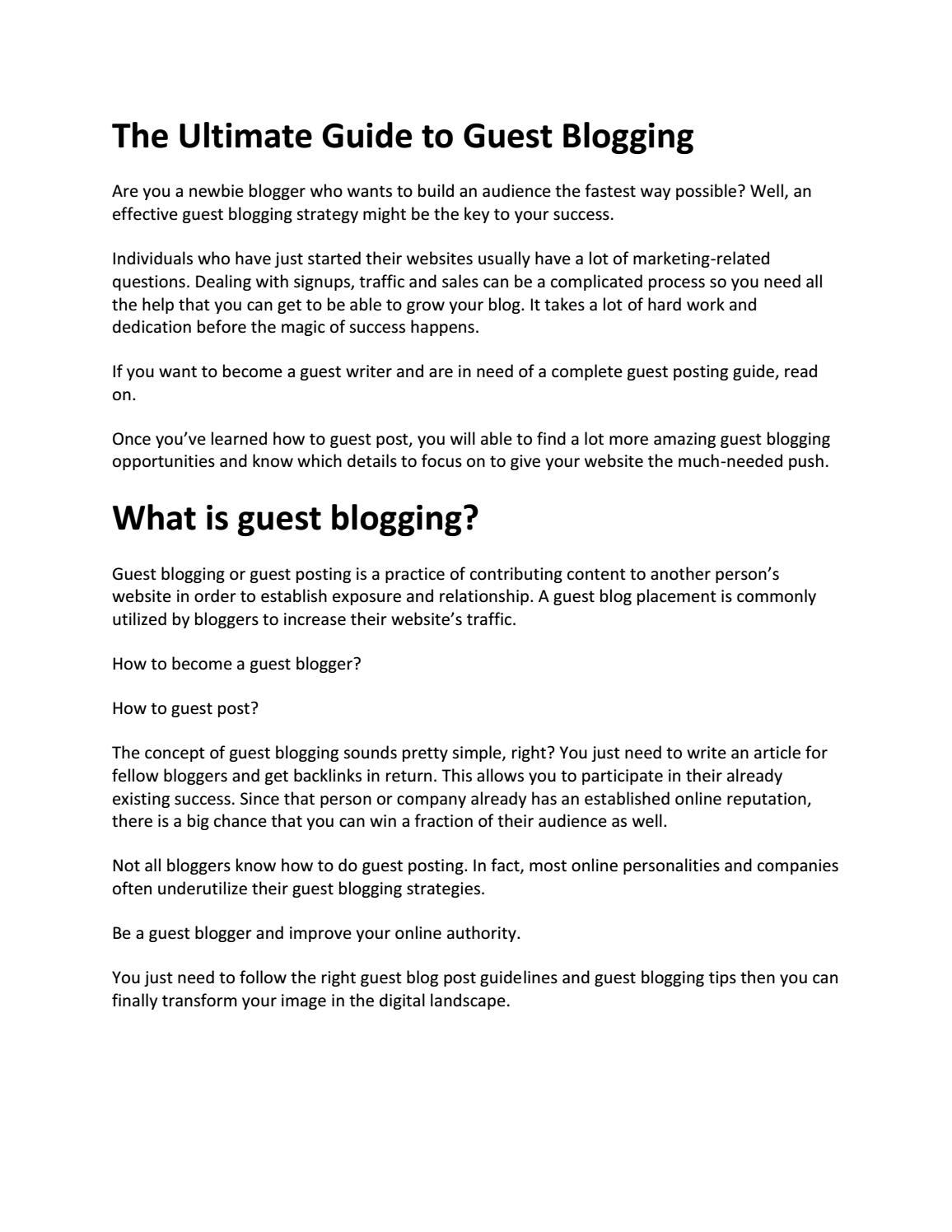 THE ULTIMATE GUIDE TO GUEST BLOGGING by yesmethod18 - issuu