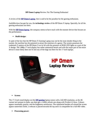 HP Omen Laptop Review: For The Gaming Enthusiast! by