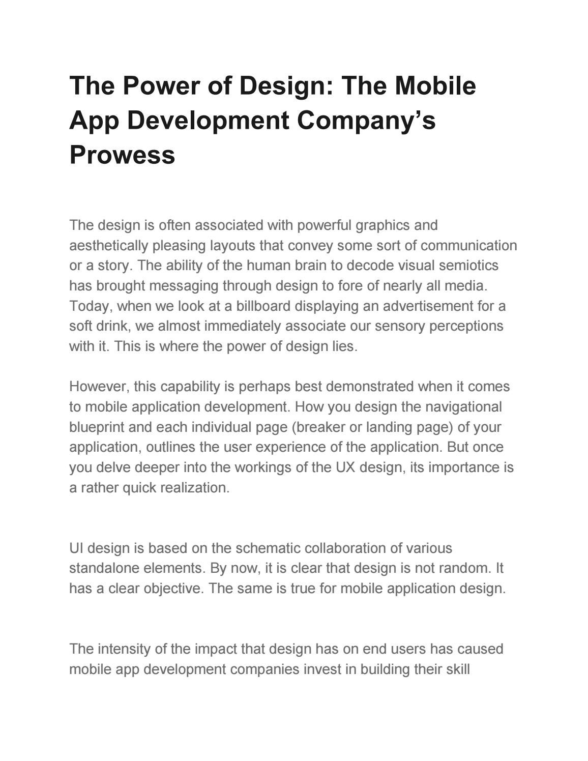 The Power of Design: The Mobile App Development Company's Prowess by