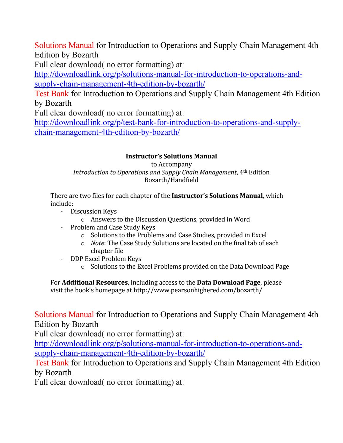 Solutions manual for introduction to operations and supply chain management 4th  edition by bozarth by Daisy1829 - issuu