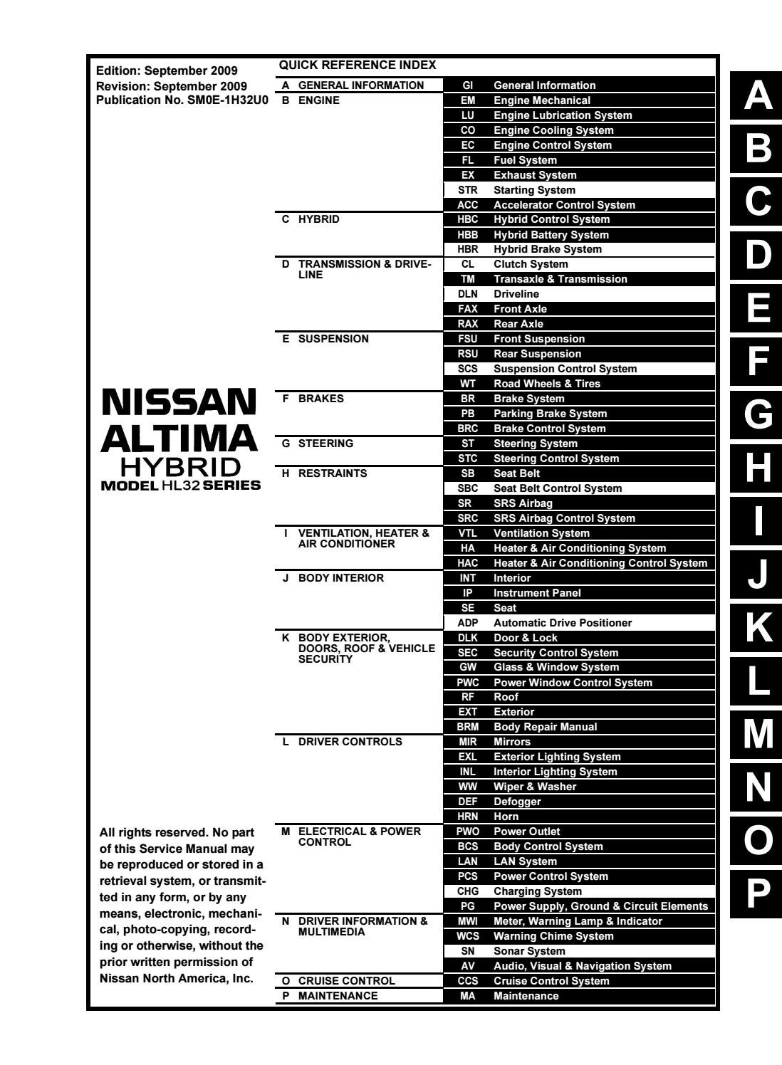 2010 Nissan Altima Hybrid Service Repair Manual By 163633 Issuu
