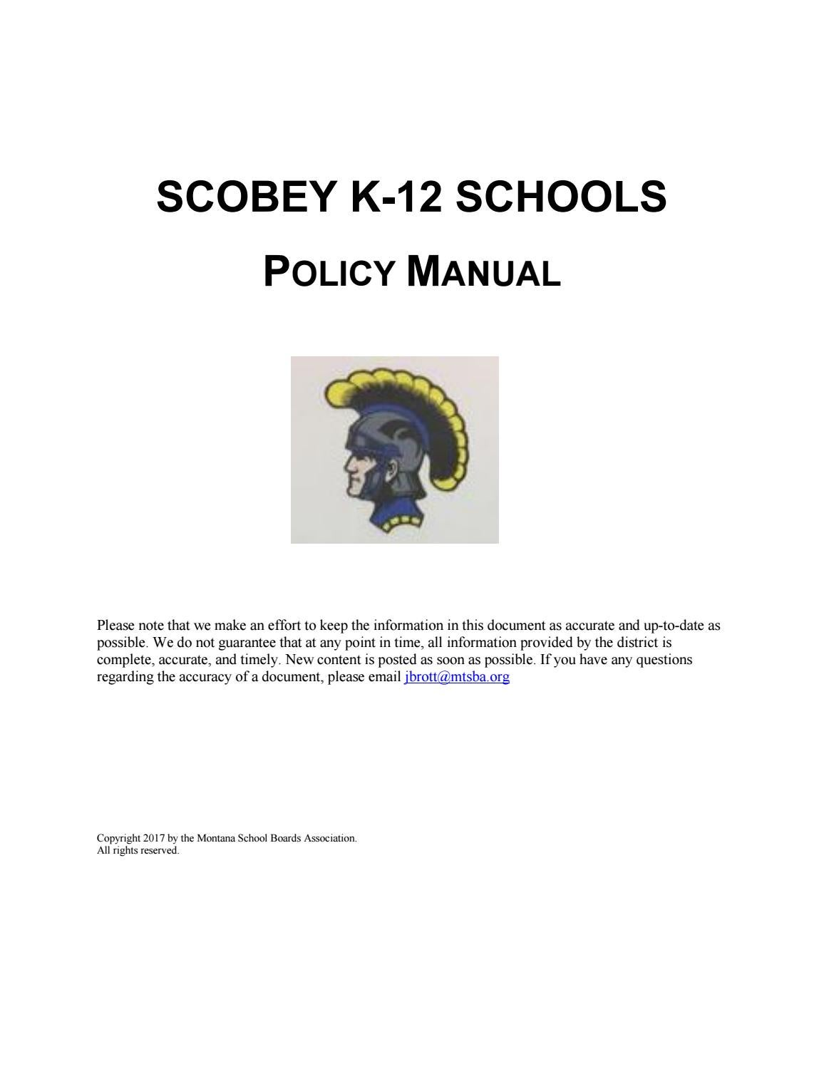 Scobey K12 Schools Policy Manual By Montana School Boards Example State Diagram Courseoffering Association Issuu