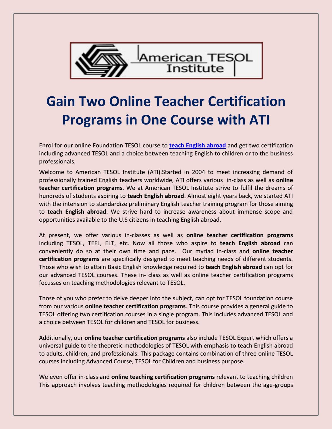 Online Teacher Certification Programs By Americantesol2018 Issuu