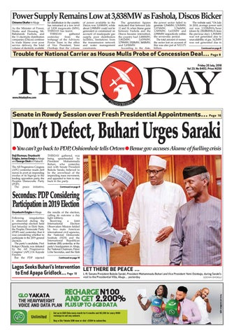FRIDAY 20TH JULY 2018 by THISDAY Newspapers Ltd - issuu
