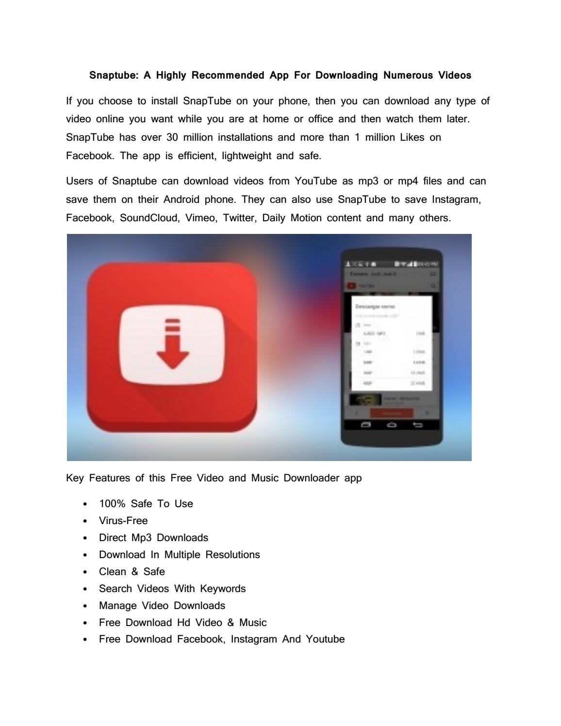 Snaptube: A Highly Recommended App For Downloading Numerous