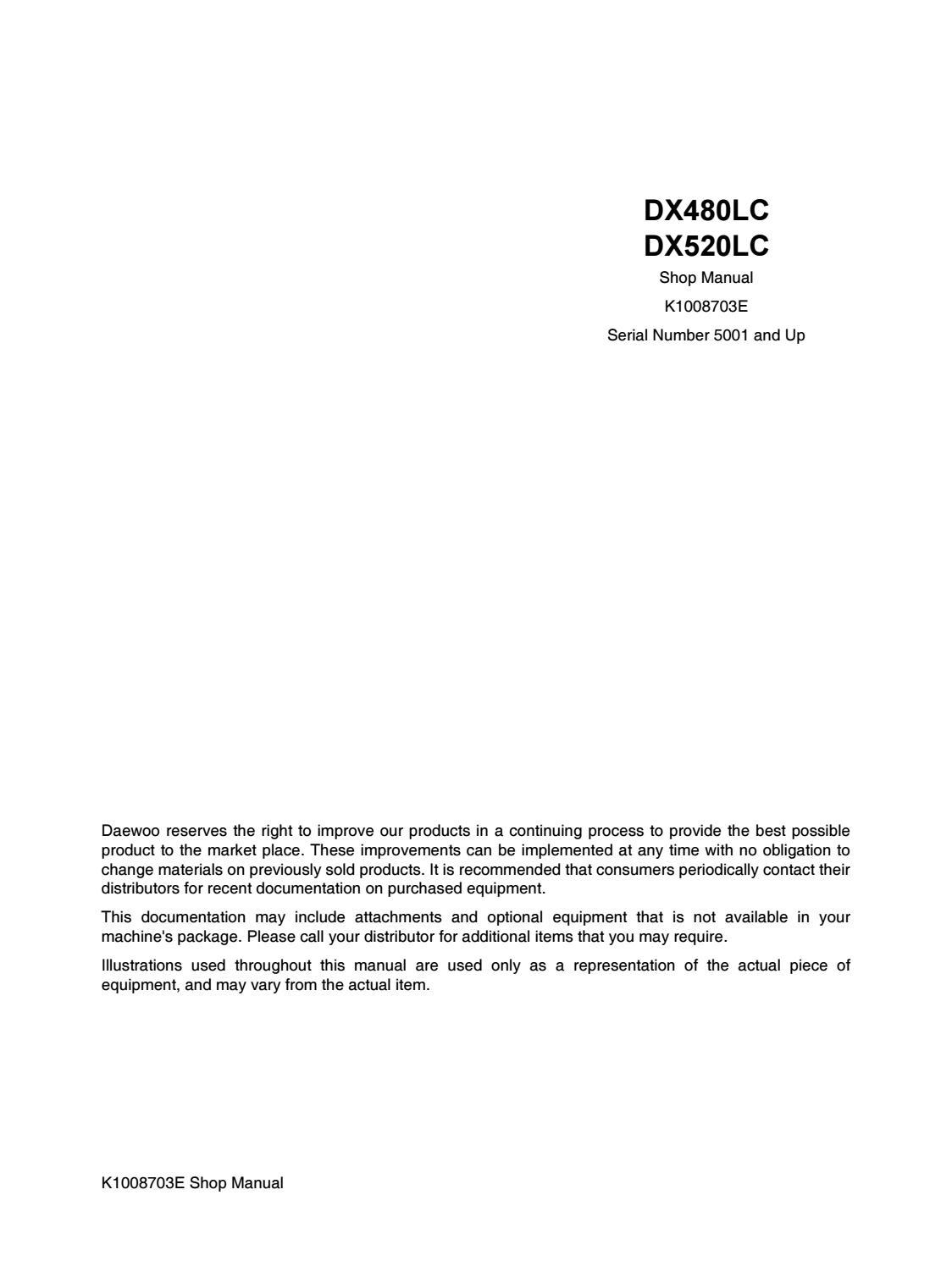 DAEWOO DOOSAN DX480LC EXCAVATOR Service Repair Manual by
