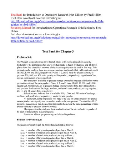 Test Bank For Introduction To Operations Research 10th
