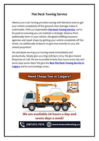 Towing Service Cost >> Best Flat Deck Towing Service In Calgary By Alberta Low Cost Towing