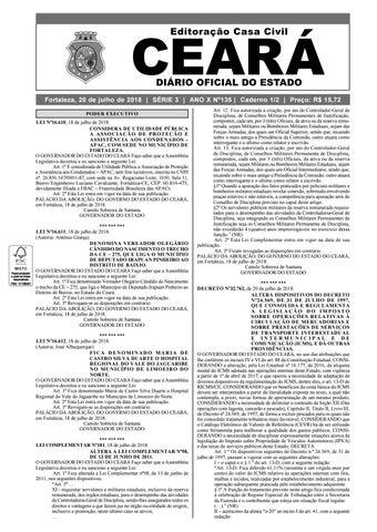 ddcbc1f61807e Fortaleza, 20 de julho de 2018   SÉRIE 3   ANO X Nº135   Caderno 1 2    Preço  R  15,72 PODER EXECUTIVO