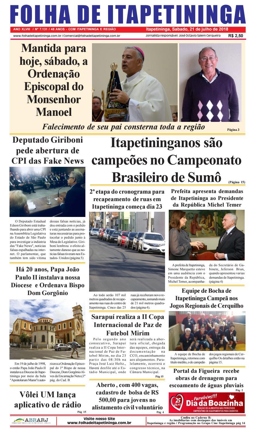 ce1116dcc Folha de Itapetininga 21/07/2018 by Jornal Folha de Itapetininga - issuu