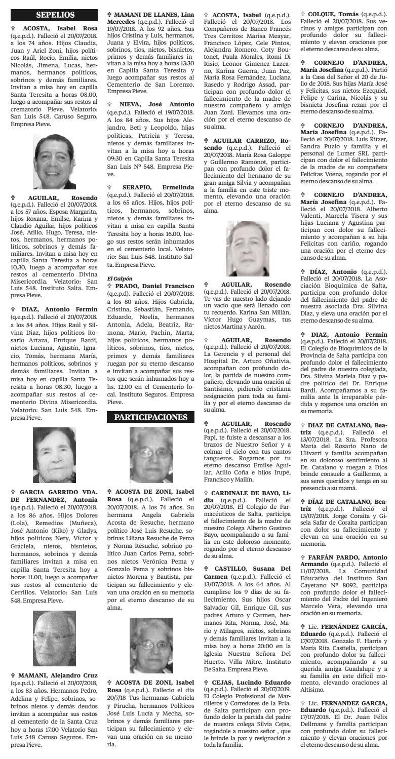 21 de Julio de 2018 - Obituarios El Tribuno by El Tribuno - issuu