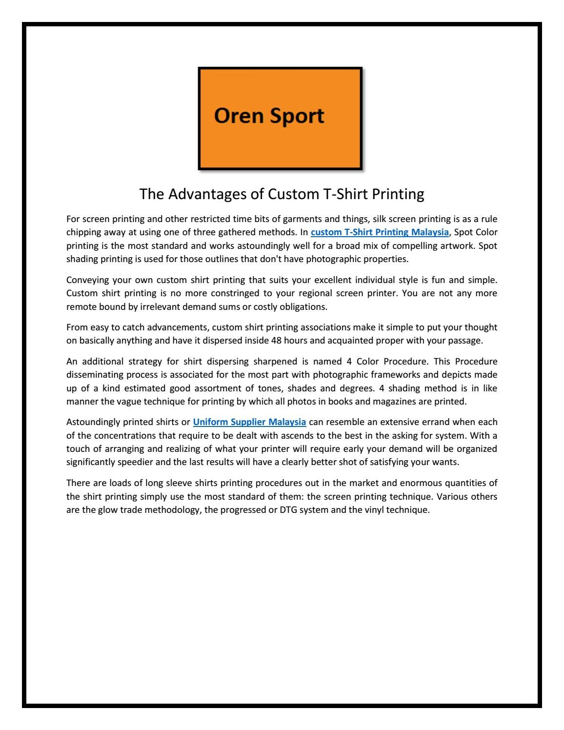 d8ad8c22 The Advantages of Custom T-Shirt Printing by Oren Sport - issuu