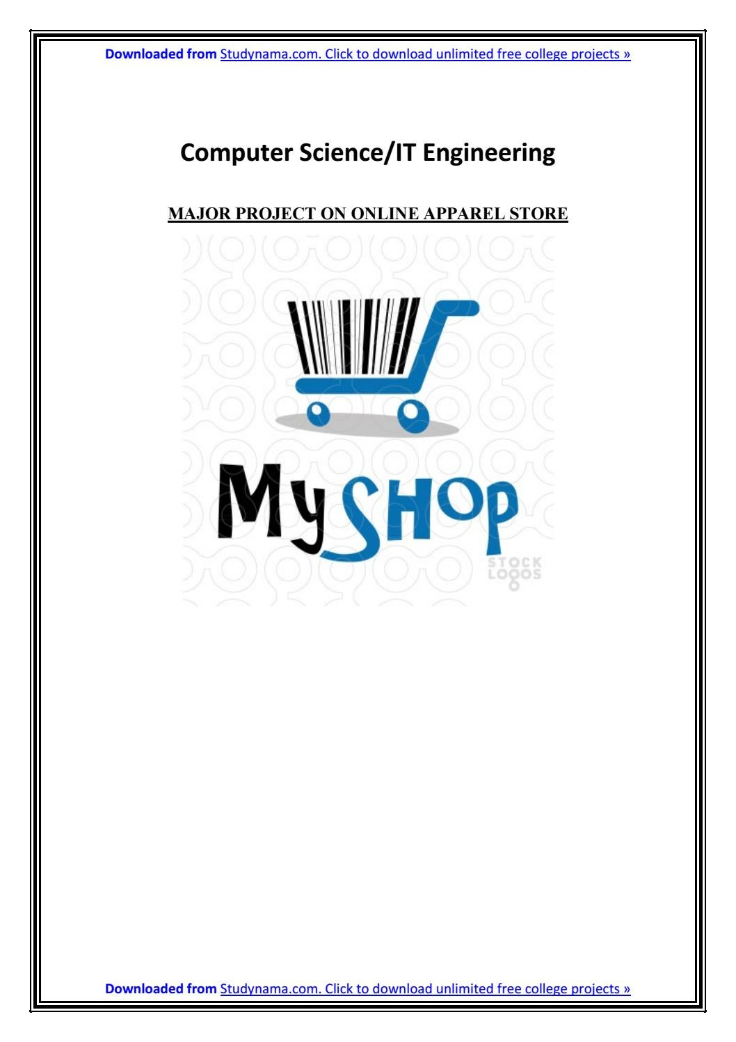 CSE-IT PHP MYSQL Project on Online Apparel Store - PDF