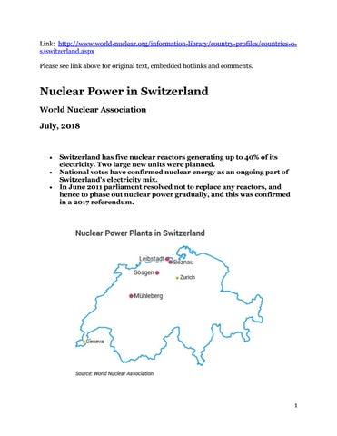 2018 Update - Nuclear Power in Switzerland, World Nuclear