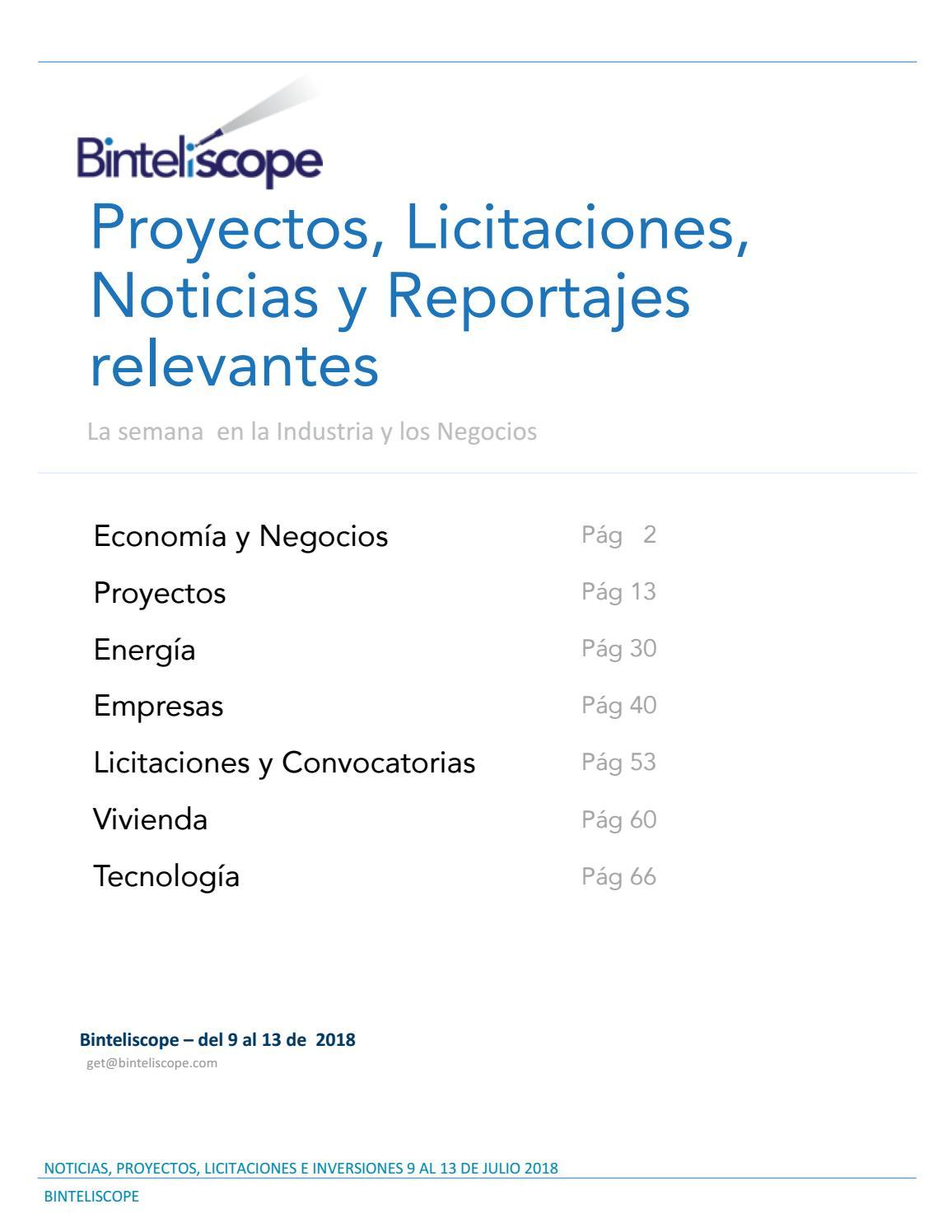 Noticias, Proyectos y Licitaciones 9 al 13 julio 18 by Binteliscope ...