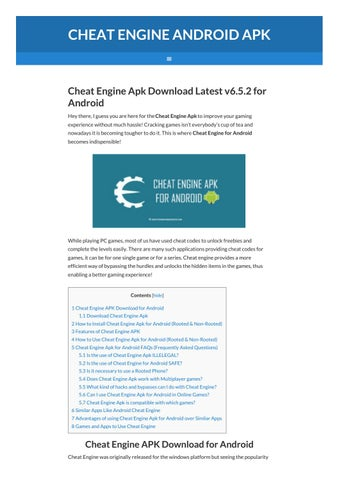 Cheat Engine Apk For Android (Rooted/Non-Rooted) by