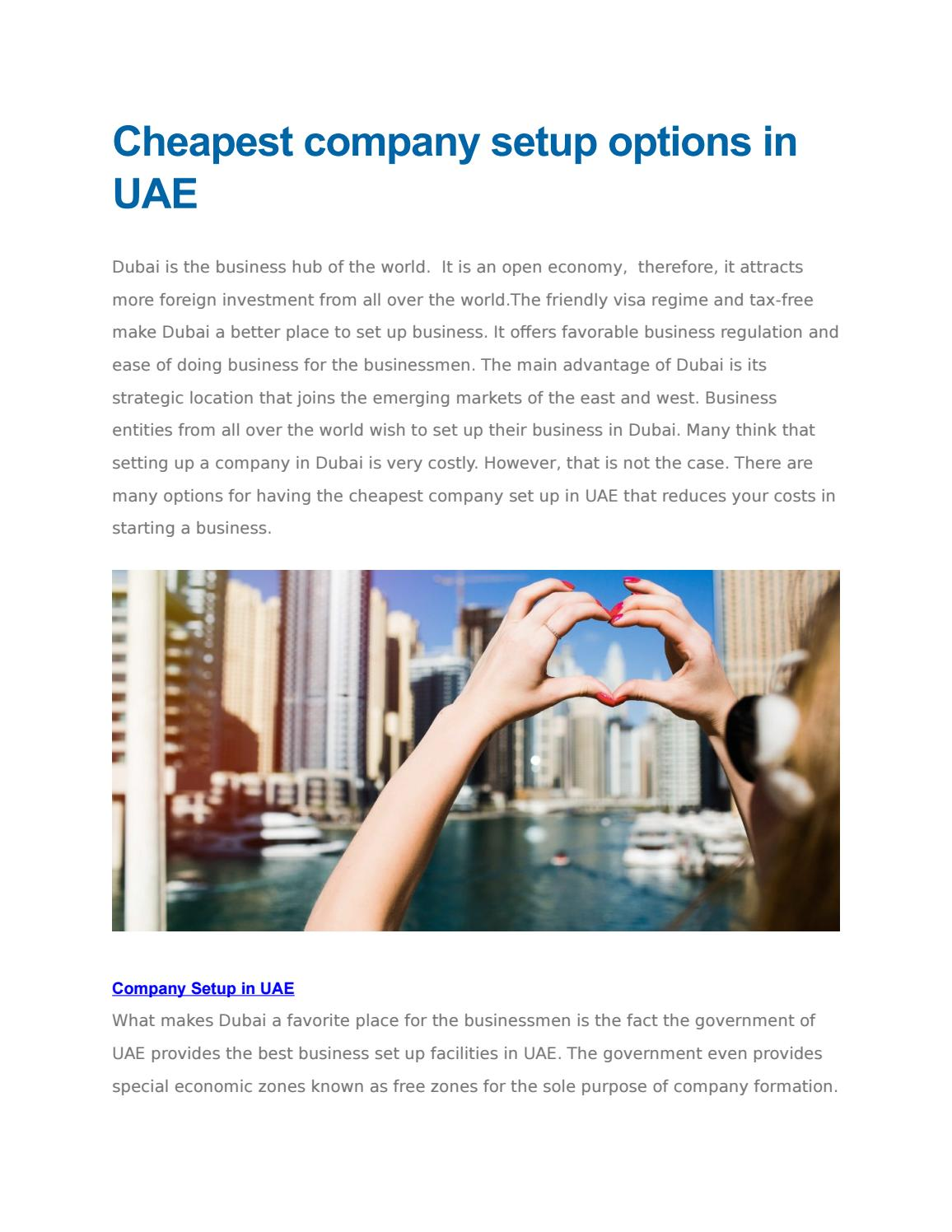 cheapest company setup options in uae by