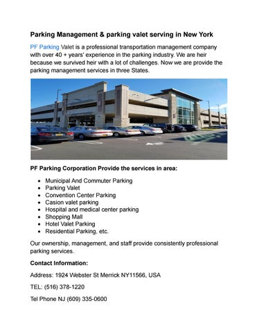 Parking Management & parking valet serving in New York